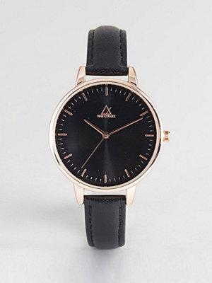 Klockor - ASOS DESIGN Black Tonal Rose Gold Leather Watch