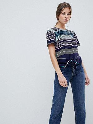 Oasis Regnbågsrandig t-shirt med knytning framtill