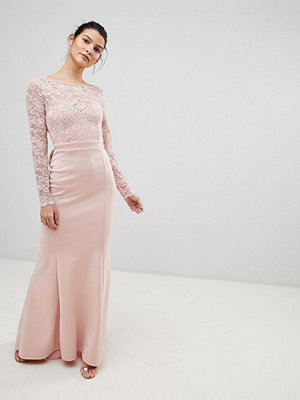 City Goddess Open Back Lace Maxi Dress With Bow Detail - Pale pink