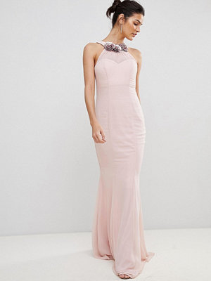 City Goddess Halter Neck Chiffon Maxi Dress With Flower Detail - Pale pink