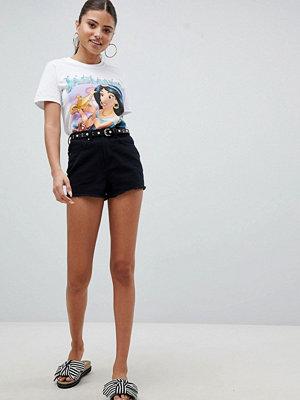 PrettyLittleThing Jeansshorts med hög midja