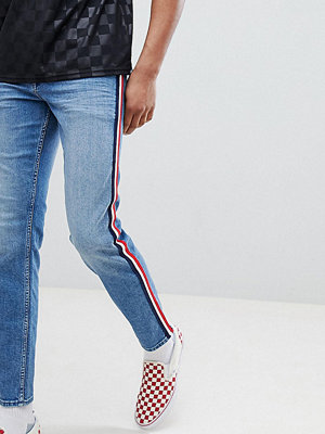 ASOS DESIGN Tall Slim Jeans In Mid Wash Blue With White Side Stripe - Mid wash blue