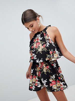 Girl In Mind Double Layer Floral Playsuit - Blk