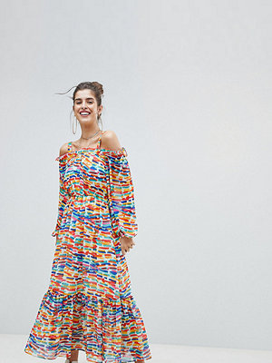 Reclaimed Vintage Inspired Off The Shoulder Printed Maxi Dress