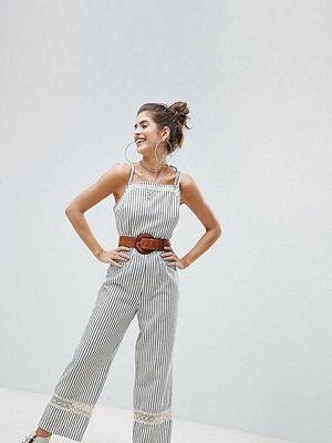 Reclaimed Vintage Inspired Tie Shoulder Jumpsuit With Crochet Inserts