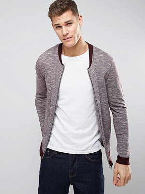 ASOS Knitted Bomber Jacket With Contrast Trims In Burgundy - Burgundy twist