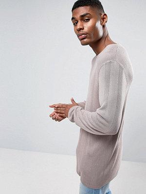 ASOS Knitted Longline Jumper In Drapey Yarn - Mauve