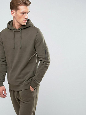 River Island Soft Feel Hoodie With MA1 Pocket