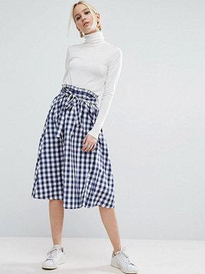 ASOS Gingham Midi Skirt with Paperbag Waist - Navy/white