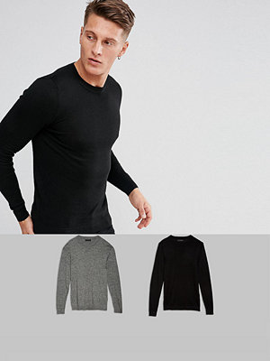 ASOS 2 Pack Muscle Fit Cotton Jumper In Black/Grey Twist SAVE - Black / white twist