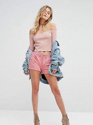 River Island Boyfriend's slitna jeansshorts