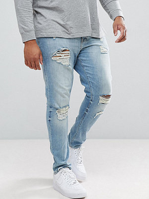 ASOS PLUS Skinny Jeans In Light Wash With Heavy Rips - Light wash vintage