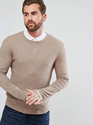 ASOS Muscle Fit Lightweight Cable Jumper In Taupe - Oatmeal