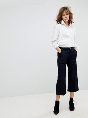 Polo Ralph Lauren Cropped Wide Leg Jean With Front Pleat Detail - Dark indigo