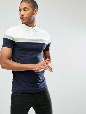 ASOS Muscle Fit Polo with Contrast Panels - White/grasshopper/