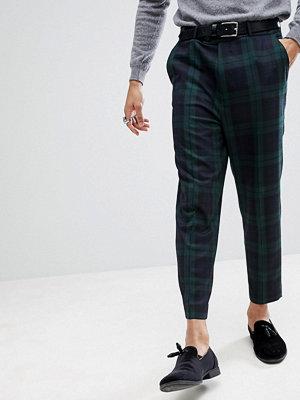 ASOS Tapered Smart Trousers In Blackwatch Tartan