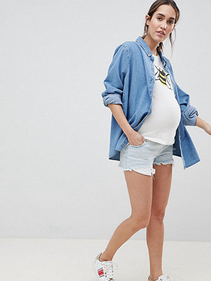 ASOS Maternity Tall Alvey Ljusblå jeansshorts med medelhög midja och råskuren fåll Vintage-blå