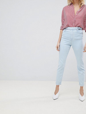 ASOS DESIGN Farleigh High Waist Slim Mom Jeans In Philomena Light Stone Wash With Savannah Styling And Si