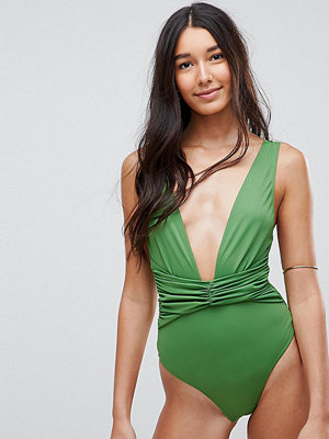 Asos Tall Plunge Ruched Front Swimsuit - Savana khaki