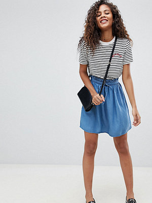 Asos Tall ASOS DESIGN Tall denim paperbag skirt in midwash blue