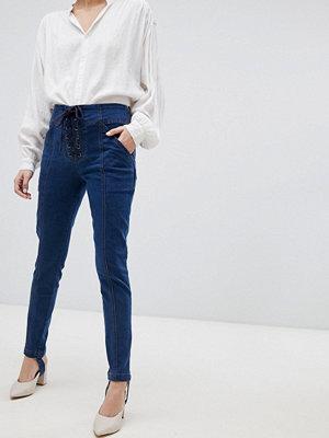 Current Air Skinny jeans med snörningsdetalj Mörkblå tvätt