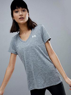 Under Armour Grå V-ringad t-shirt i tech-material Grafitgrå
