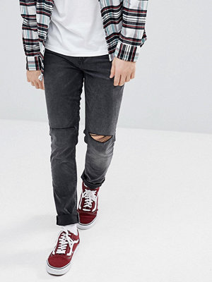 ASOS Skinny Jeans In Washed Black With Knee Rips - Washed black