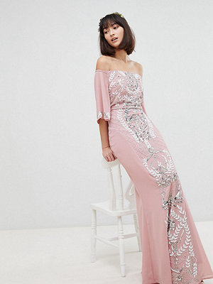 Maya All Over Embellished Bardot Maxi Bridesmaid Dress With Fluted Sleeves - Vintage rose