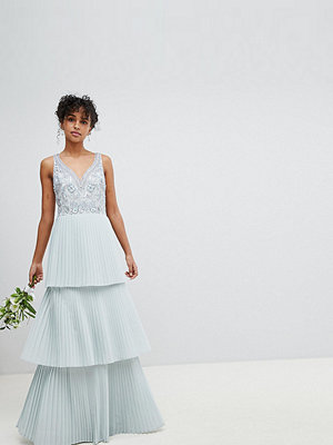 Maya Floral Sequin Top Maxi Bridesmaid Dress With Tiered Ruffle Pleated Skirt - Ice blue