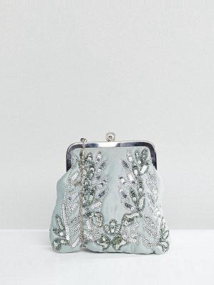 Maya kuvertväska Allover Sequin Embroidered Clutch Bag - Green lily