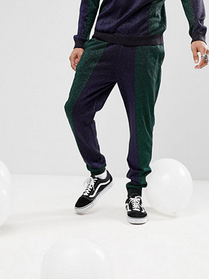 ASOS Knitted Co-ord Colour Block Joggers In Metallic Yarn
