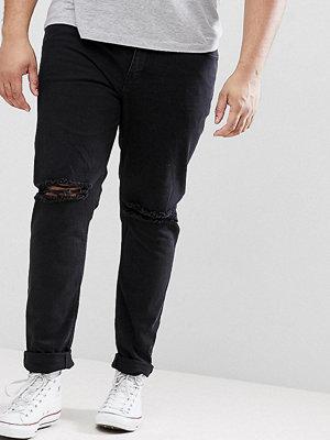 ASOS PLUS Skinny Jeans In Black With Knee Rips