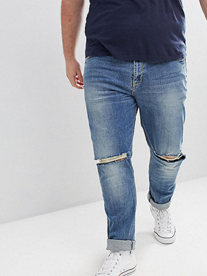 ASOS DESIGN Plus Skinny Jeans In Mid Wash With Knee Rips - Mid wash blue