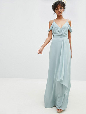 TFNC Cold Shoulder Wrap Maxi Bridesmaid Dress With Fishtail - Green lily
