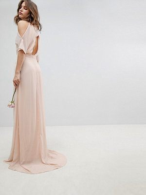 TFNC High Neck Maxi Bridesmaid Dress With Fishtail - Nude