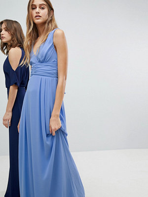 TFNC Wrap Front Maxi Bridesmaid Dress With Tie Back - Bluebell