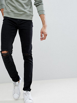 ASOS TALL Skinny Jeans In Black With Knee Rips