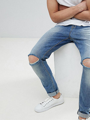 ASOS DESIGN Tall Skinny Jeans In Mid Wash With Knee Rips - Mid wash blue