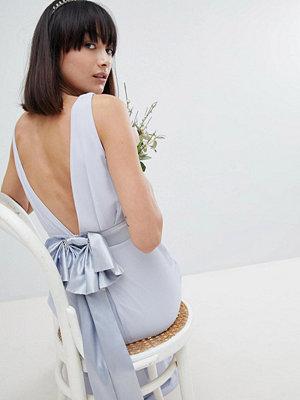 TFNC Sateen Bow Back Maxi Bridesmaid Dress - Ice
