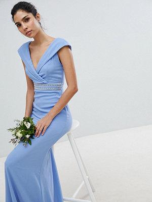 TFNC Bardot Maxi Bridesmaid Dress With Fishtail and Embellished Waist - Bluebell