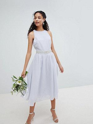 TFNC Embellished Midi Bridesmaid Dress with Full skirt - Ice