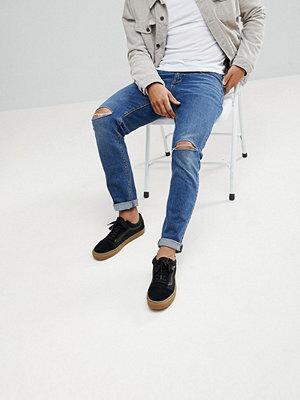ASOS Slim Jeans In Vintage Dark Wash With Knee Rips - Dark wash blue