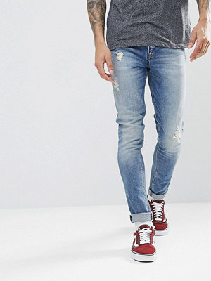 ASOS Super Skinny Jeans In Mid Wash Blue With Abrasions - Mid wash blue