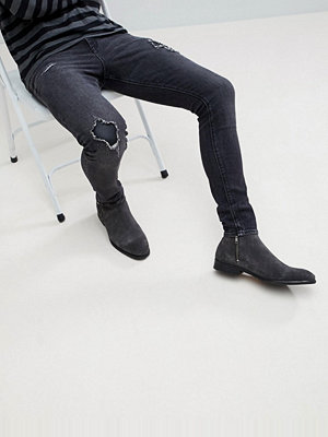 ASOS Super Skinny Jeans In Washed Black With Faux Leather Patches - Vintage black