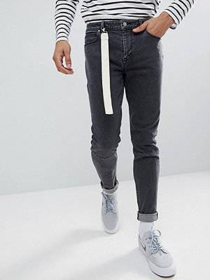 ASOS Skinny Jeans In Washed Black With Strap Detail - Washed black