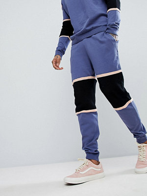 ASOS Knitted Co-ord Colour Block Joggers With Mesh Panel