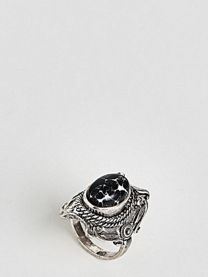 ASOS Curve ASOS DESIGN Curve Large Stone Festival Ring - Burnished silver