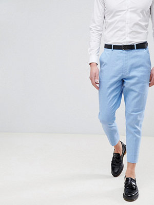 ASOS DESIGN Wedding Tapered Smart Trousers In Blue Linen