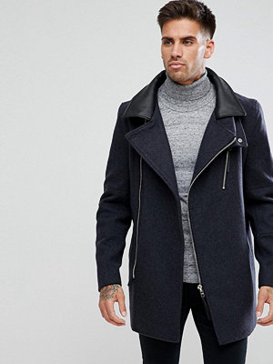 Skinnjackor - River Island Smart Coat With Faux Leather Collar