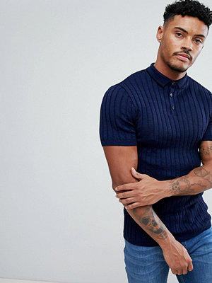Tröjor & cardigans - River Island Muscle Fit Ribbed Polo